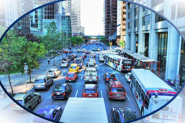 Downtown Calgary Traffic Jam