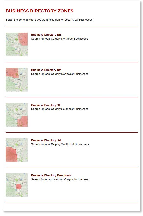 WebStamp's Local Calgary Business Directory Listing Zones
