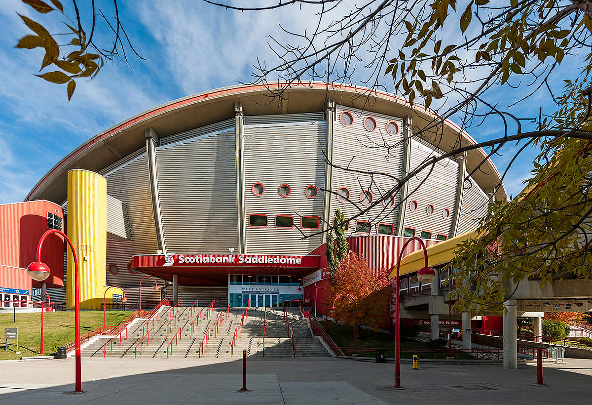 Imposing angle of the Saddledome